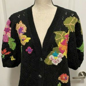 Berek Black Cotton Sweater w Colorful Flowers